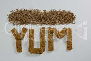 Granola bars arranged Yum with cereal bran stick