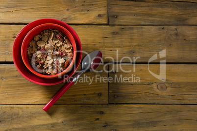 Wheat flakes with blueberry in bowl