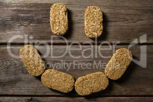 Granola bars forming a smiley face
