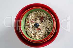 Muesli with blueberry in bowl