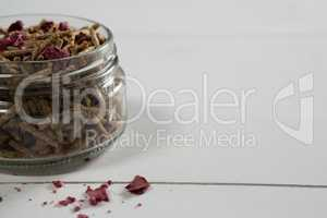 Cereal bran stick in glass jar