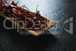 Chili pepper in wooden tray