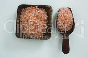 Sea salt in wooden bowl and scoop