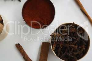 Star anise and chili powder in bowl with cinnamon stick
