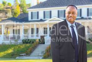 African American Agent In Front of Beautiful Custom House.
