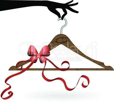 Hand hold hanger with ribbon vector illustration