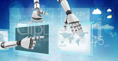 Robot hands interacting with technology interface panels of world weather