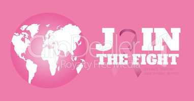 World map and breast cancer awareness concept