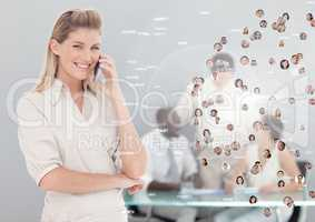 Woman holding phone with Profile portraits of people contacts