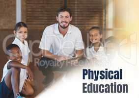 Physical education text and  teacher with class