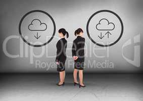 Download or upload icons with Businesswoman looking in opposite directions