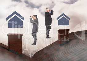 Businessmen on property ladder looking at house icons over roof