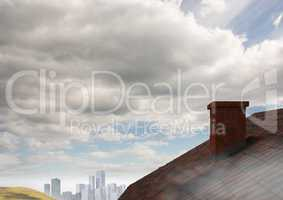 Roof with chimney in country and city sky