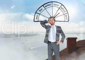 Barometer icon good and bad with Businessman standing on Roof with chimney and city sea port