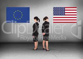 Europe flag or America flag with Businesswoman looking in opposite directions