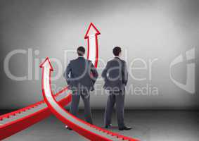 Direction step arrows with Businessman looking in opposite directions