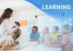 Learning text and School teacher with class