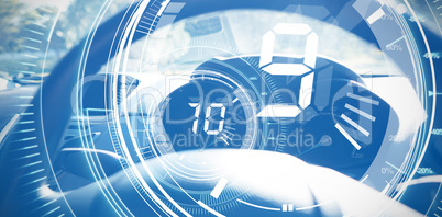 Composite image of interface dial countdown with timer in blue background