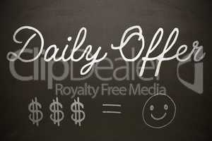 Composite image of graphic image of daily offer text with dollar signs