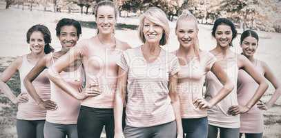 Women participating in breast cancer awareness