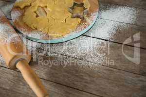 High angle view of star shape on dough