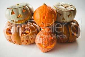 High angle view of jack o lanterns over white background