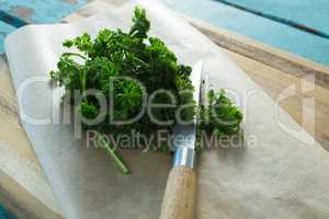 Coriander leaves, wax paper and knife on chopping board