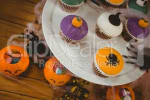 High angle view of sweet food during Halloween