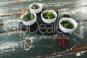 Spices and herbs on wooden table