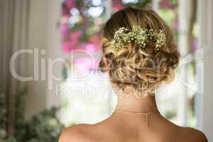 Close up of bride hair