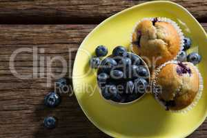 Blueberries and muffins on plate