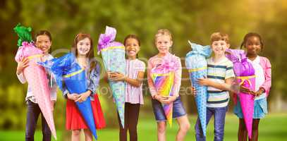 Composite image of full length portrait of friends with huge gifts