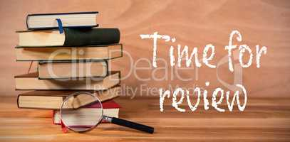 Composite image of time for review text on white background