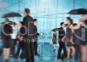 Group of business people with transition background and umbrellas rushing