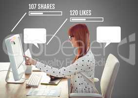 Woman on computer campaign with shares and likes of Social media interfaces with empty chat bubbles