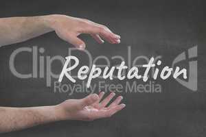 Hands interacting with reputation business text against grey background