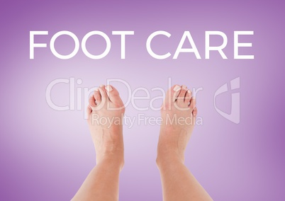Foot Care text  and bare feet with purple background