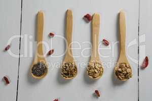 Various oatmeal in wooden spoon