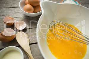 High angle view of egg yolk in container