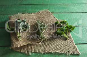 Various type of herbs on sack
