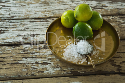 Salt and lime in a plate