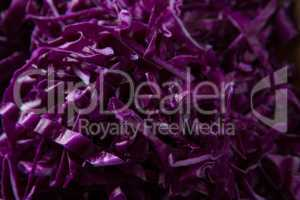 Close-up of chopped red cabbage