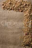Granola arranged on textile