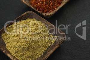 Coriander powder in wooden bowl