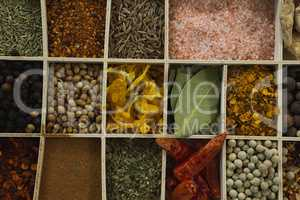 Various spices arranged in tray