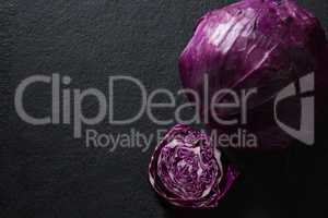 Red cabbage on black background