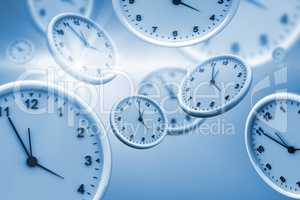 Computer graphic image of clocks