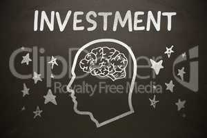 Composite image of graphic image of human head with brain amidst star shapes below investment text