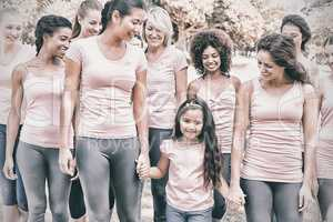 Group of females supporting breast cancer campaign