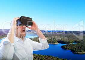 man with VR glasses in front of a Paradise place